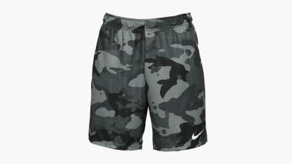 Nike Men's Dri-FIT Camo Shorts 5.0 - Smoke Gray / White shown on a white background