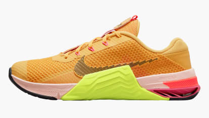Nike Metcon 7X - Men's - Games Colorway - Pollen / Black / Volt Pale Coral side view shown on a white background
