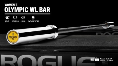 Rogue 25MM IWF Oly Bar - Cerakote Black shown with the specs highlighted on the image