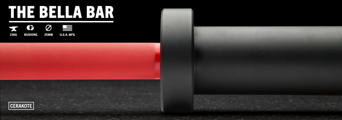 catalog/Weightlifting Bars and Plates/Barbells/Womens 15KG Barbells/AU-BELLACERAKOTE/AU-BELLACERAKOTE-red-black-H-dynamic_1_keo215